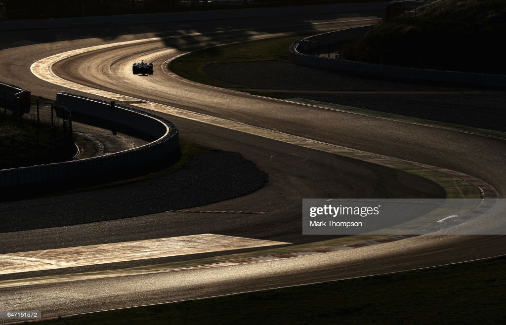 Romain Grosjean of France driving the (8) Haas F1 Team Haas-Ferrari VF-17 Ferrari on track during day four of Formula One winter testing at Circuit de Catalunya on March 2, 2017 in Montmelo, Spain.
