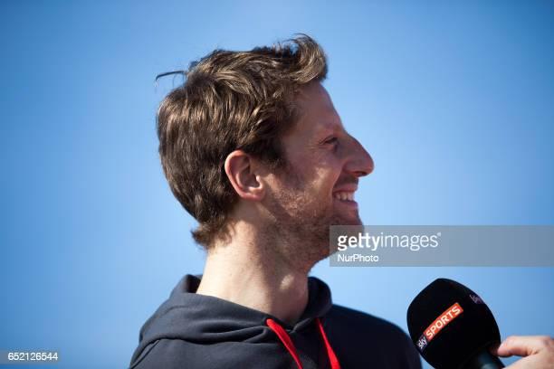 Romain Grosjean of France driving the Haas F1 Team HaasFerrari VF17 Ferrari in action during the Formula One winter testing at Circuit de Catalunya...