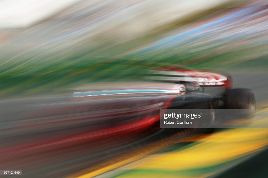 Romain Grosjean of France driving the (8) Haas F1 Team Haas-Ferrari VF-17 Ferrari on track during practice for the Australian Formula One Grand Prix at Albert Park on March 24, 2017 in Melbourne, Australia.