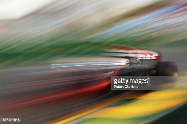 Romain Grosjean of France driving the Haas F1 Team HaasFerrari VF17 Ferrari on track during practice for the Australian Formula One Grand Prix at...