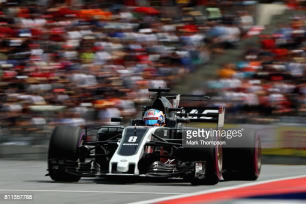 Romain Grosjean of France driving the Haas F1 Team HaasFerrari VF17 Ferrari on track during the Formula One Grand Prix of Austria at Red Bull Ring on...