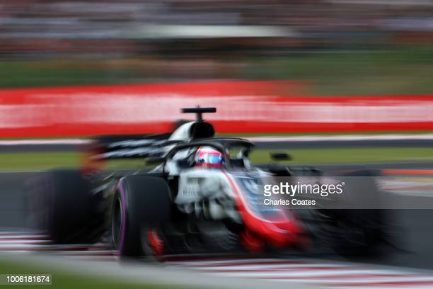 Romain Grosjean of France driving the Haas F1 Team VF18 Ferrari on track during practice for the Formula One Grand Prix of Hungary at Hungaroring on...