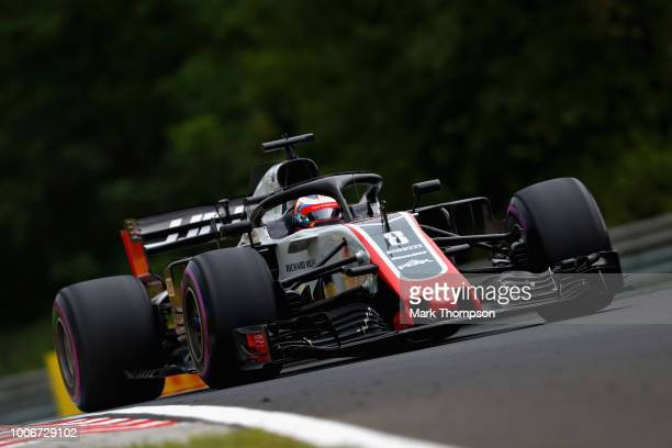 Romain Grosjean of France driving the Haas F1 Team VF18 Ferrari on track during qualifying for the Formula One Grand Prix of Hungary at Hungaroring...
