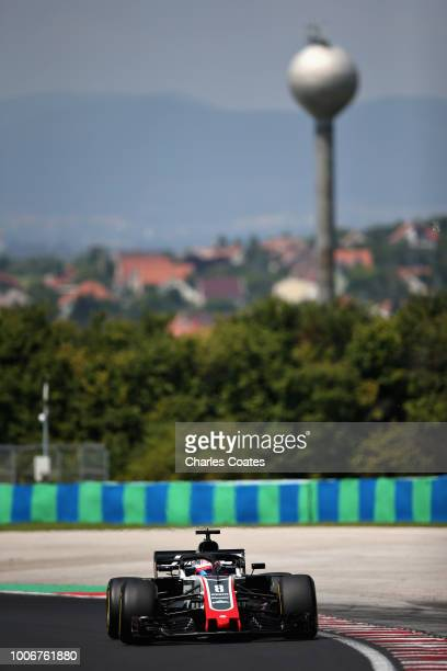 Romain Grosjean of France driving the Haas F1 Team VF18 Ferrari on track during final practice for the Formula One Grand Prix of Hungary at...