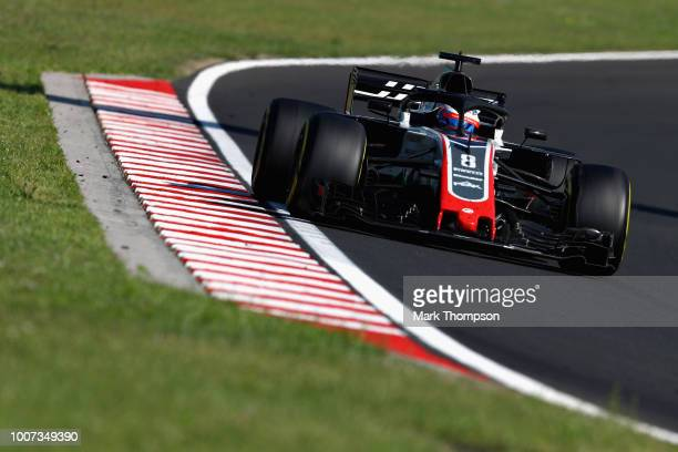 Romain Grosjean of France driving the Haas F1 Team VF18 Ferrari on track during the Formula One Grand Prix of Hungary at Hungaroring on July 29 2018...