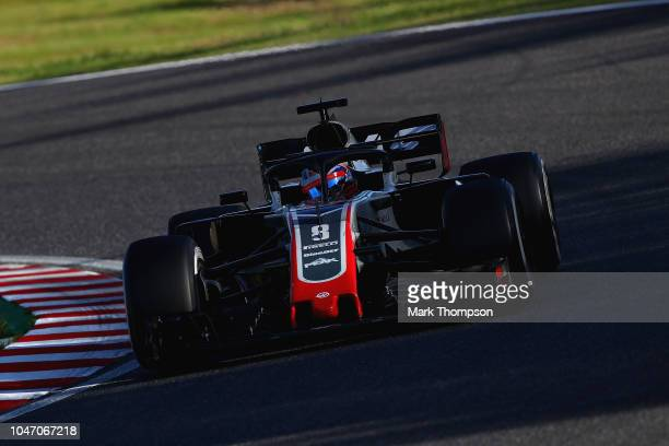Romain Grosjean of France driving the Haas F1 Team VF18 Ferrari on track during the Formula One Grand Prix of Japan at Suzuka Circuit on October 7...