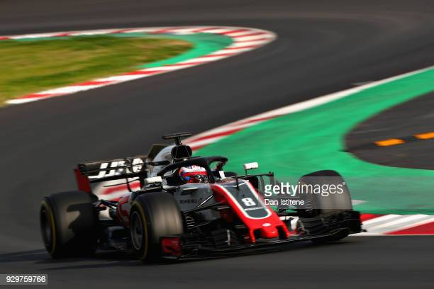 Romain Grosjean of France driving the Haas F1 Team VF18 Ferrari on track during day four of F1 Winter Testing at Circuit de Catalunya on March 9 2018...