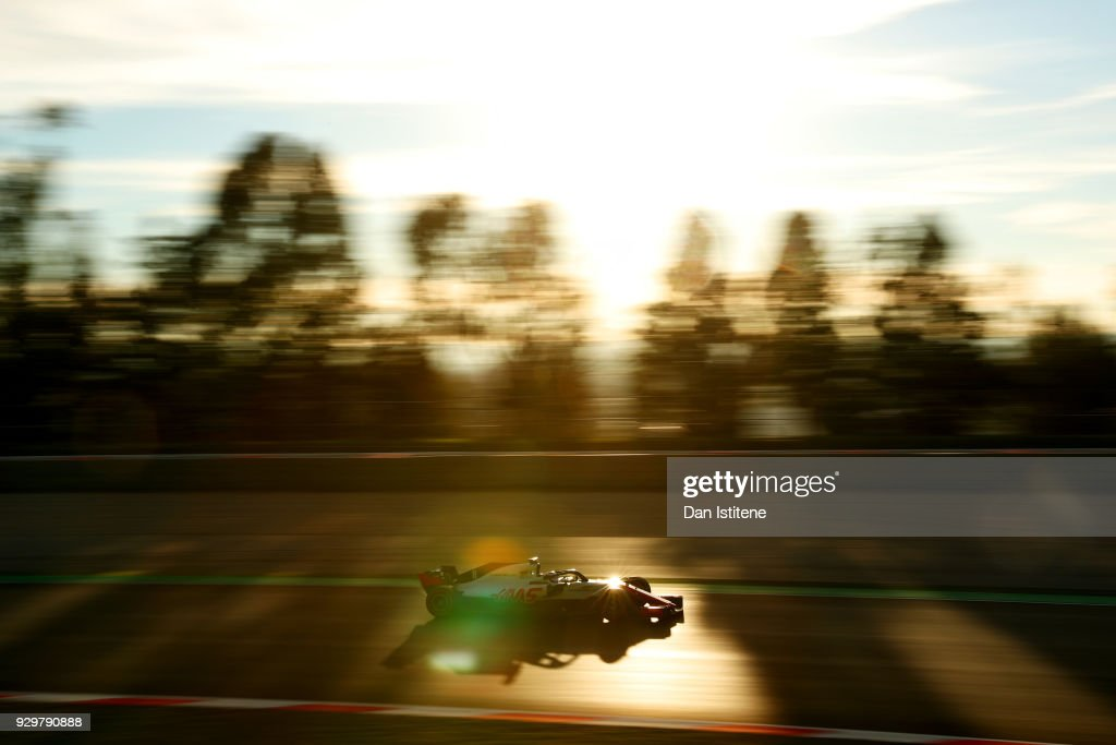 Romain Grosjean of France driving the (8) Haas F1 Team VF-18 Ferrari on track during day four of F1 Winter Testing at Circuit de Catalunya on March 9, 2018 in Montmelo, Spain.