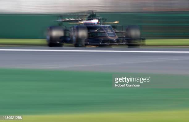 Romain Grosjean of France driving the Haas F1 Team VF19 Ferrari on track during qualifying for the F1 Grand Prix of Australia at Melbourne Grand Prix...
