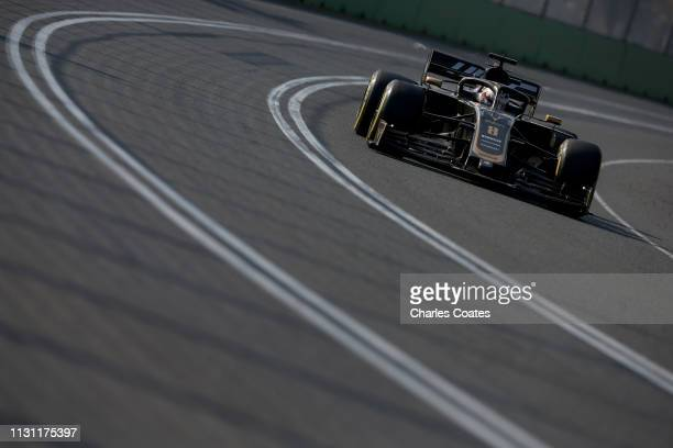 Romain Grosjean of France driving the Haas F1 Team VF19 Ferrari on track during the F1 Grand Prix of Australia at Melbourne Grand Prix Circuit on...