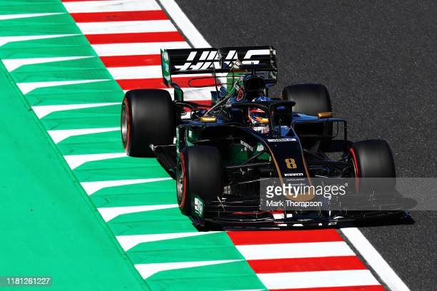 Romain Grosjean of France driving the Haas F1 Team VF-19 Ferrari on track during qualifying for the F1 Grand Prix of Japan at Suzuka Circuit on...