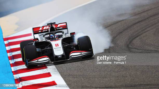 Romain Grosjean of France driving the Haas F1 Team VF-20 Ferrari locks a wheel under braking during practice ahead of the F1 Grand Prix of Bahrain at...