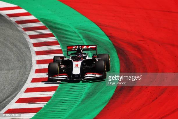 Romain Grosjean of France driving the Haas F1 Team VF-20 Ferrari on track during practice for the F1 Grand Prix of Styria at Red Bull Ring on July...