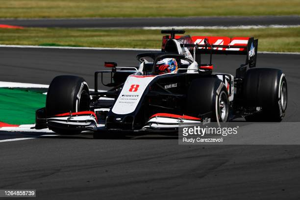Romain Grosjean of France driving the Haas F1 Team VF-20 Ferrari on track during the F1 70th Anniversary Grand Prix at Silverstone on August 09, 2020...