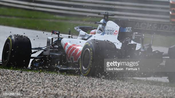 Romain Grosjean of France driving the Haas F1 Team VF-20 Ferrari runs wide during the Formula One Grand Prix of Austria at Red Bull Ring on July 05,...