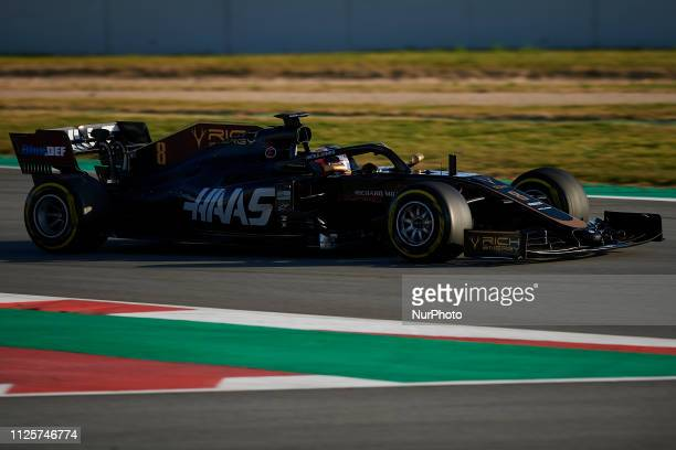 Romain Grosjean of France driving the Rich Energy Haas F1 Team during day one of F1 Winter Testing at Circuit de Catalunya on February 18 2019 in...