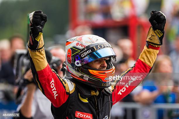 Romain Grosjean of Lotus F1 Team and France during the Formula One Grand Prix of Belgium at Circuit de Spa-Francorchamps on August 23, 2015 in Spa,...