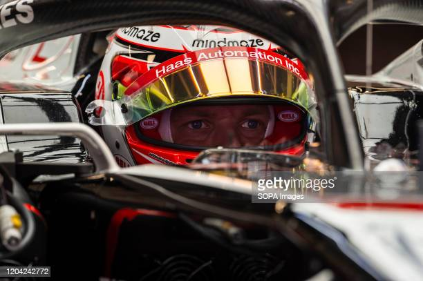 Romain Grosjean participates in the tests for the new season of the Formula One Grand Prix at the Circuit de Catalunya in Montmelo
