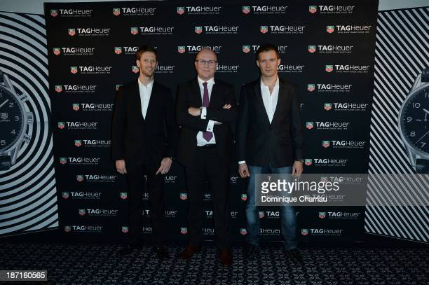 Romain Grosjean TAG Heuer's CEO Stephane Linder and Sebastien Ogier attend the Opening of the TAG Heuer New Boutique Followed By An Evening...