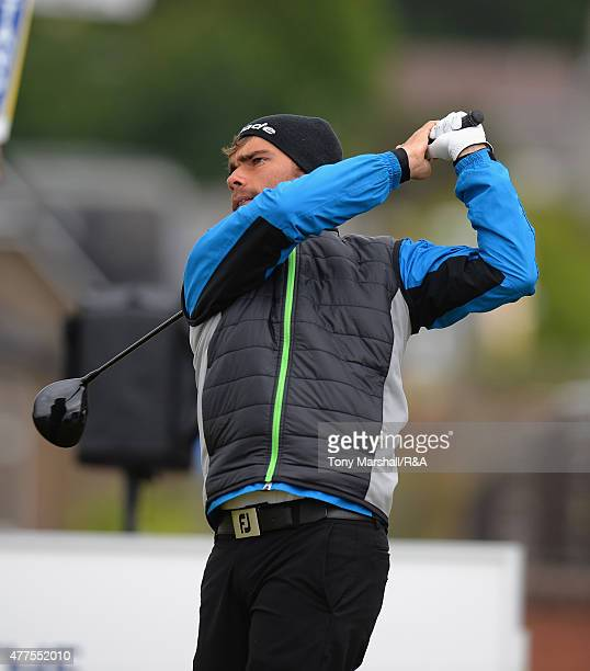 Romain Lagasque of France plays his first shot on the 1st tee during The Amateur Championship 2015 Day Four at Carnoustie Golf Club on June 18 2015...