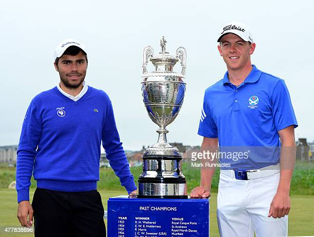 Romain Langasque of France and Grant Forrest of Scotland pose for a photograph with the historic trophy on the first tee during day five of the...