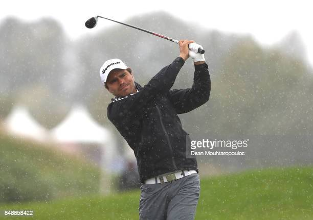 Romain Langasque of France hits an approach during day one of the European Tour KLM Open held at The Dutch on September 14 2017 in Spijk Netherlands