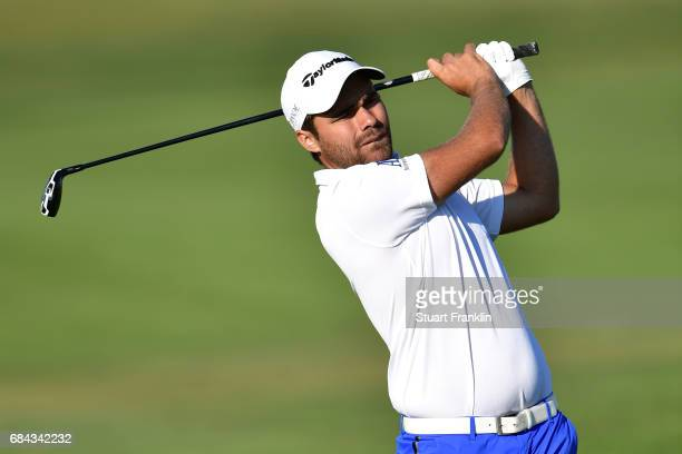 Romain Langasque of France hits an approach during the first round of the Rocco Forte Open at Verdura Golf and Spa Resort on May 18 2017 in Sciacca...