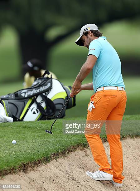 Romain Langasque of France hits his second shot on the 12th hole during day three of the BMW South African Open Championship at Glendower Golf Club...