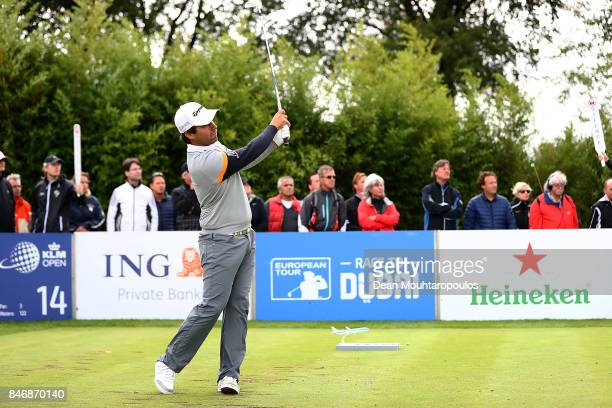Romain Langasque of France hits his tee shot on the 14th hole during day one of the European Tour KLM Open held at The Dutch on September 14 2017 in...