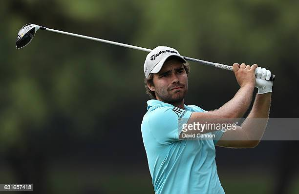 Romain Langasque of France hits his tee shot on the 15th hole during day three of the BMW South African Open Championship at Glendower Golf Club on...
