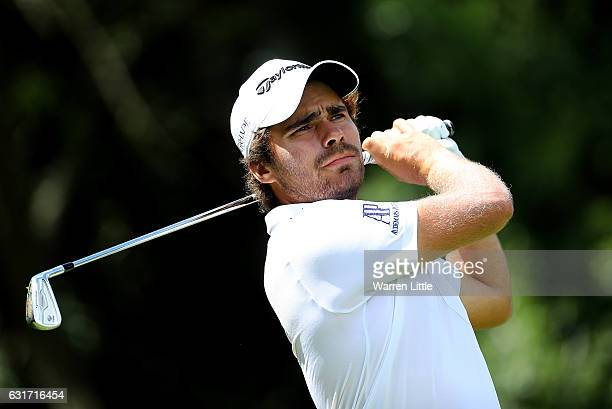 Romain Langasque of France hits his tee shot on the 3rd hole during day four of the BMW South African Open Championship at Glendower Golf Club on...