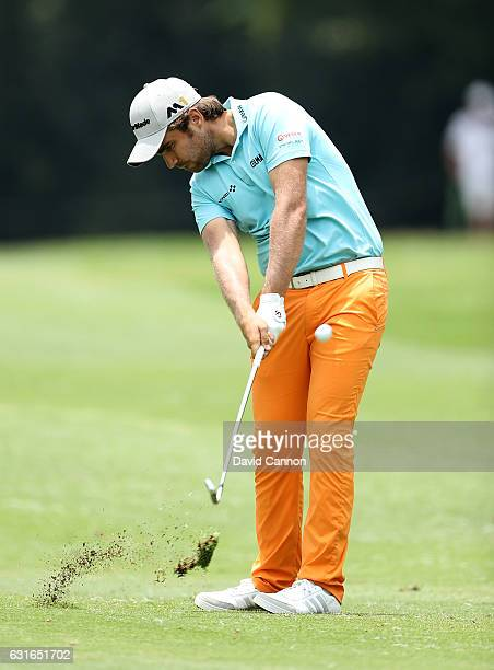Romain Langasque of France hits his tsecond shot on the 7th hole during day three of the BMW South African Open Championship at Glendower Golf Club...