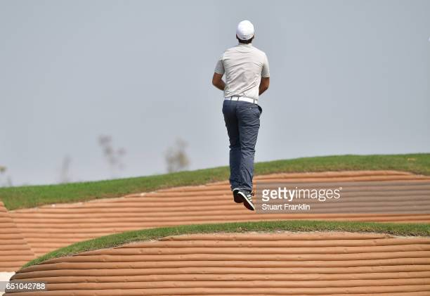 Romain Langasque of France jumps during the second round of the Hero Indian Open at Dlf Golf and Country Club on March 10 2017 in New Delhi India