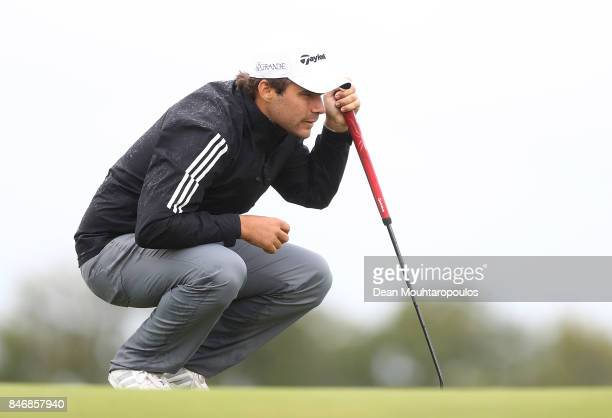 Romain Langasque of France lines up a putt on the 13th hole during day one of the European Tour KLM Open held at The Dutch on September 14 2017 in...