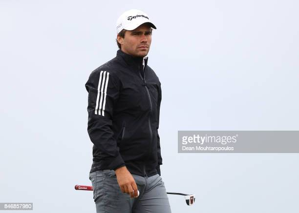 Romain Langasque of France looks on on the 13th hole during day one of the European Tour KLM Open held at The Dutch on September 14 2017 in Spijk...