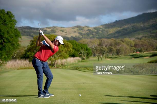Romain Langasque of France on 12th tee during the first round of the AfrAsia Bank Mauritius Open at Heritage Golf Club on November 30 2017 in Bel...