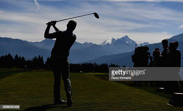 Romain Langasque of France on the 7th tee during the second round of the Omega European Masters at CranssurSierre Golf Club on September 2 2016 in...