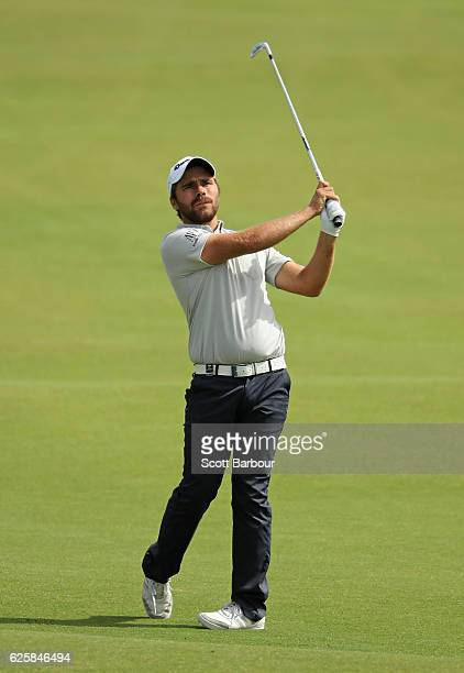 Romain Langasque of France plays a shot during day three of the World Cup of Golf at Kingston Heath Golf Club on November 26 2016 in Melbourne...