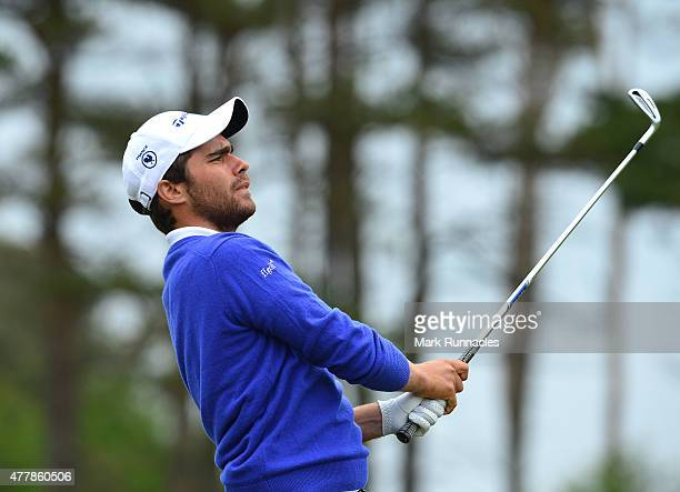 Romain Langasque of France plays his approach shot to the 13th hole during day Six of the Amateur Championship 2015 at Carnoustie Golf Links on June...