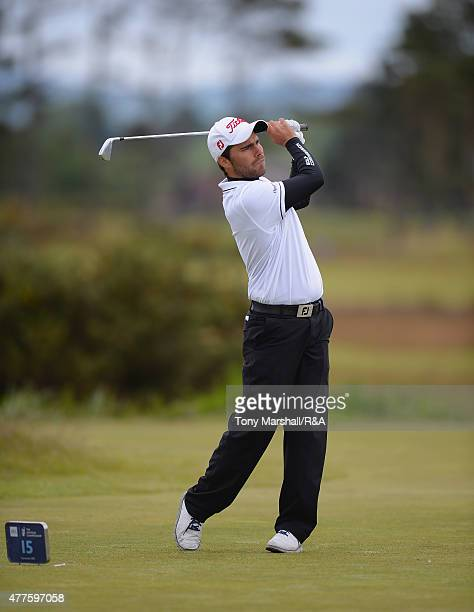 Romain Langasque of France plays his first shot on the 15th tee during The Amateur Championship 2015 Day Four at Carnoustie Golf Club on June 18 2015...