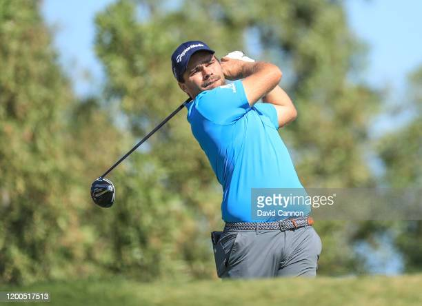 Romain Langasque of France plays his tee shot on the third hole during the final round of the Abu Dhabi HSBC Championship at Abu Dhabi Golf Club on...