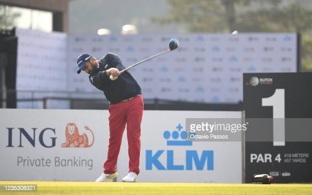 Romain Langasque of France plays his tee shot to the first hole during Day Two of the Dutch Open at Bernardus Golf on September 17, 2021 in...