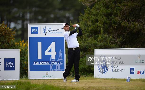 Romain Langasque of France plays shot his first on the 14th tee during The Amateur Championship 2015 Day Four at Carnoustie Golf Club on June 18 2015...