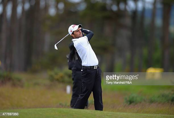Romain Langasque of France plays shot his second on the 14th fairway during The Amateur Championship 2015 Day Four at Carnoustie Golf Club on June 18...