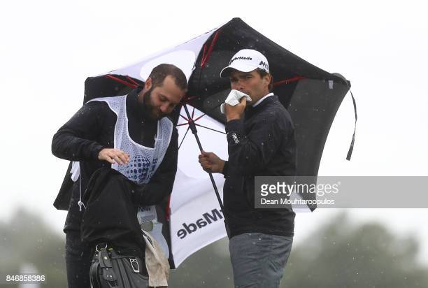 Romain Langasque of France prepares to play on 13th hole during day one of the European Tour KLM Open held at The Dutch on September 14 2017 in Spijk...