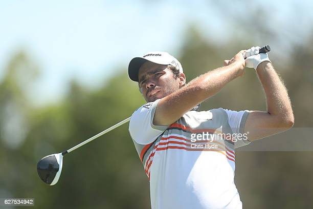 Romain Langasque of France tees off during day four of the 2016 Australian PGA Championship at RACV Royal Pines Resort on December 4 2016 in Gold...