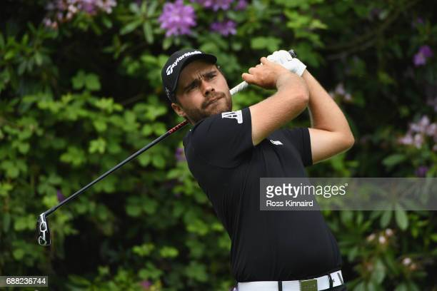 Romain Langasque of France tees off during day one of the BMW PGA Championship at Wentworth on May 25 2017 in Virginia Water England