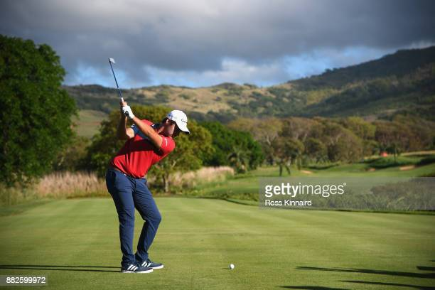 Romain Langasque of France tees off on the 12th during day one of the AfrAsia Bank Mauritius Open at Heritage Golf Club on November 30 2017 in Bel...