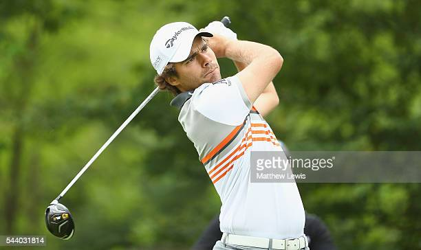 Romain Langasque of France tees off on the 14th hole during day two of the 100th Open de France at Le Golf National on July 1 2016 in Paris France