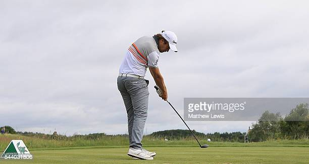 Romain Langasque of France tees off on the 15th hole during day two of the 100th Open de France at Le Golf National on July 1 2016 in Paris France